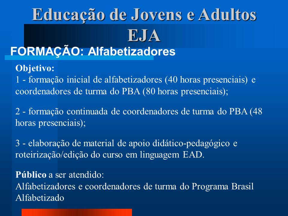 Educação de Jovens e Adultos EJA FORMAÇÃO: Alfabetizadores Objetivo: 1 - formação inicial de alfabetizadores (40 horas presenciais) e coordenadores de