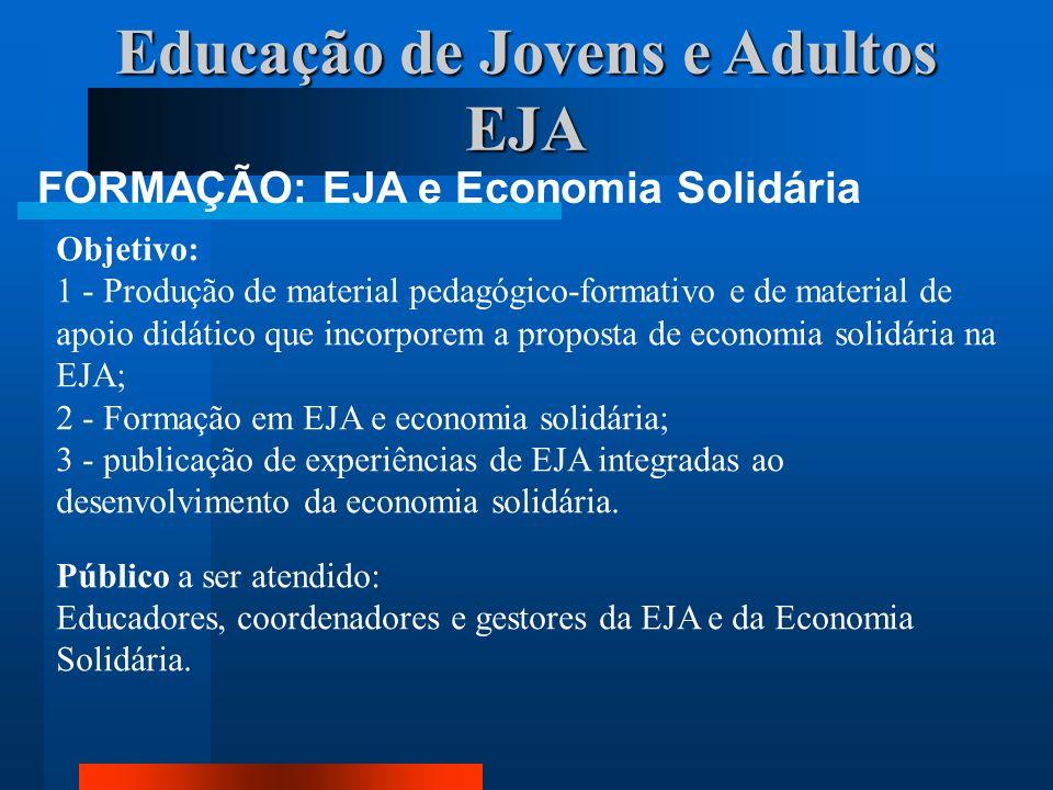 Educação de Jovens e Adultos EJA FORMAÇÃO: EJA e Economia Solidária Objetivo: 1 - Produção de material pedagógico-formativo e de material de apoio did