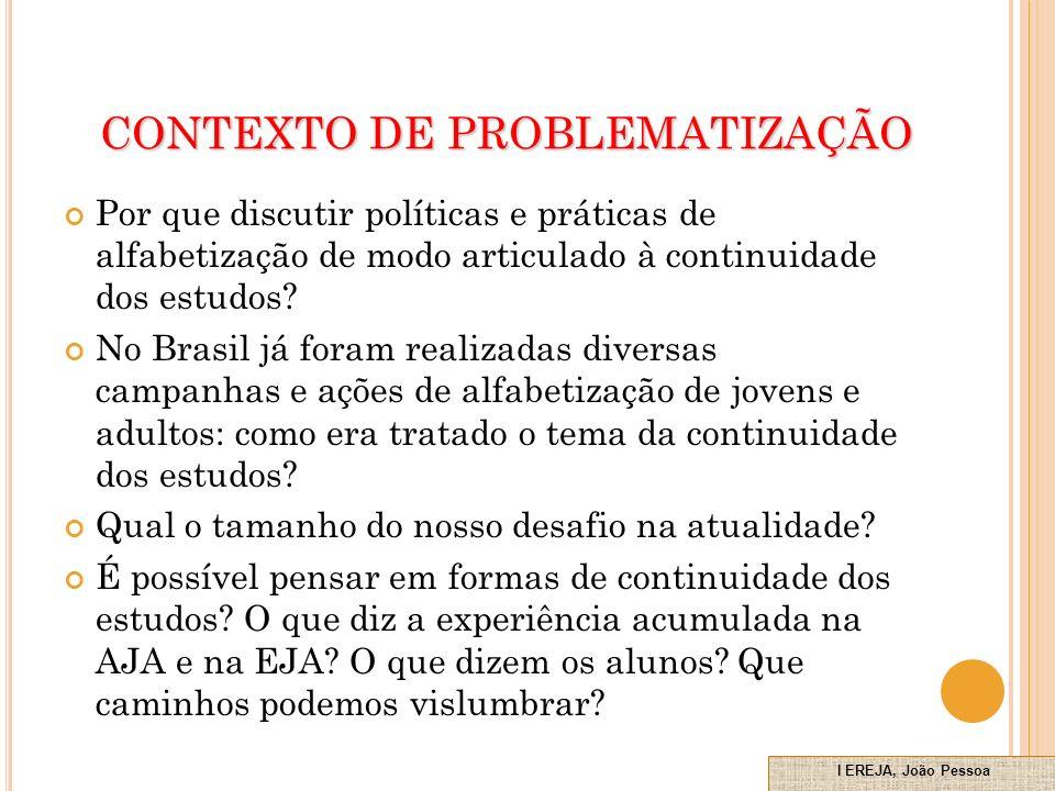 CONTEXTO DE PROBLEMATIZAÇÃO Por que discutir políticas e práticas de alfabetização de modo articulado à continuidade dos estudos.