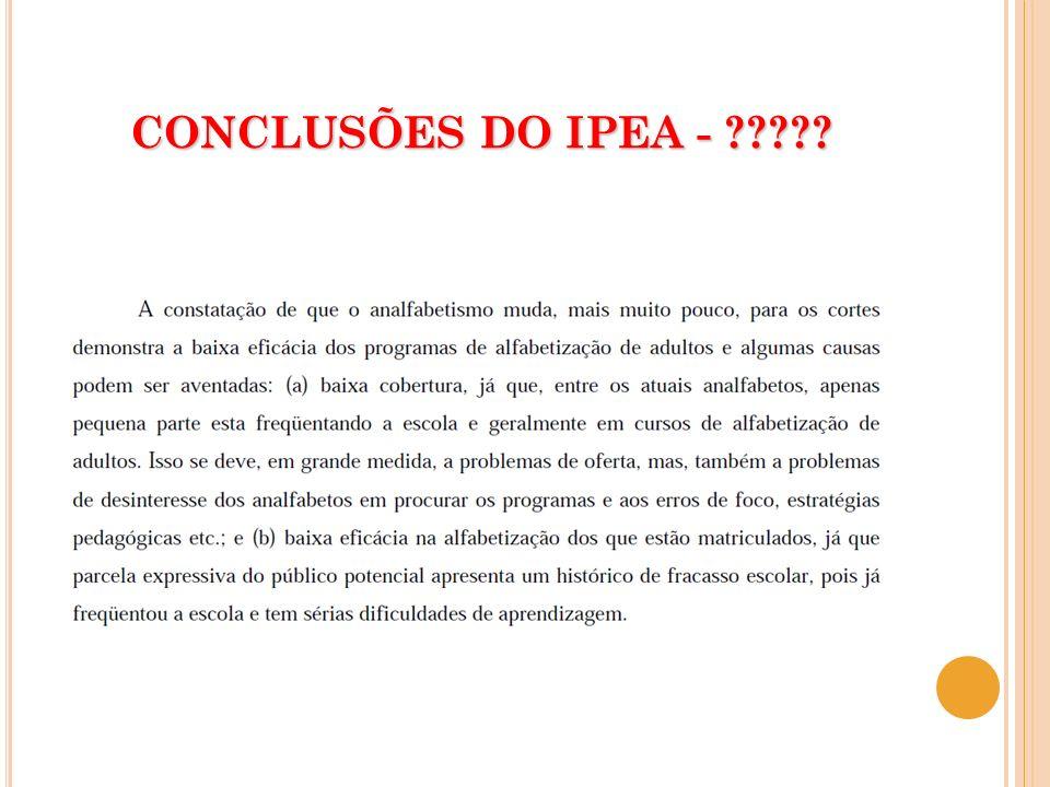 CONCLUSÕES DO IPEA - ?????