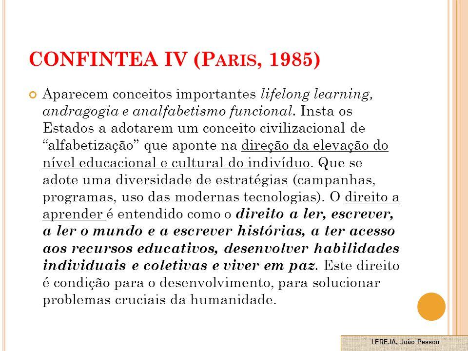 CONFINTEA IV (P ARIS, 1985) Aparecem conceitos importantes lifelong learning, andragogia e analfabetismo funcional.