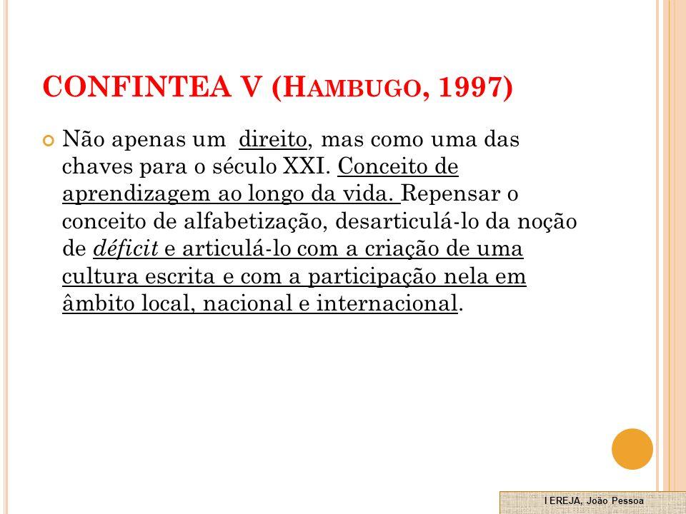 CONFINTEA V (H AMBUGO, 1997) Não apenas um direito, mas como uma das chaves para o século XXI.
