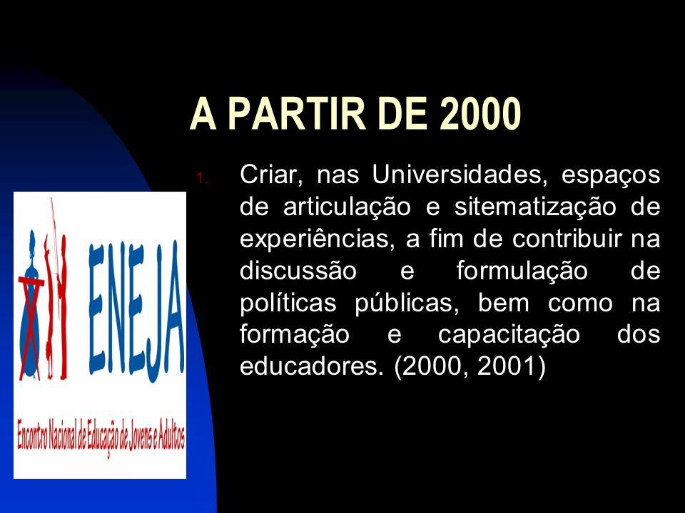 A PARTIR DE 2000 1. Criar, nas Universidades, espaços de articulação e sitematização de experiências, a fim de contribuir na discussão e formulação de
