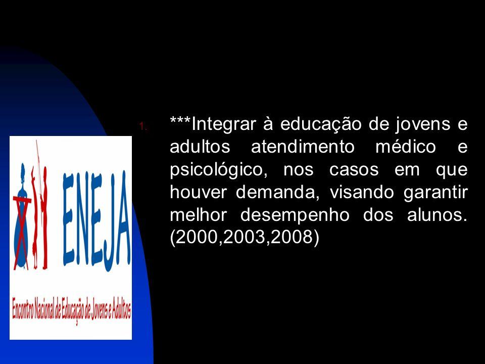 1. ***Integrar à educação de jovens e adultos atendimento médico e psicológico, nos casos em que houver demanda, visando garantir melhor desempenho do