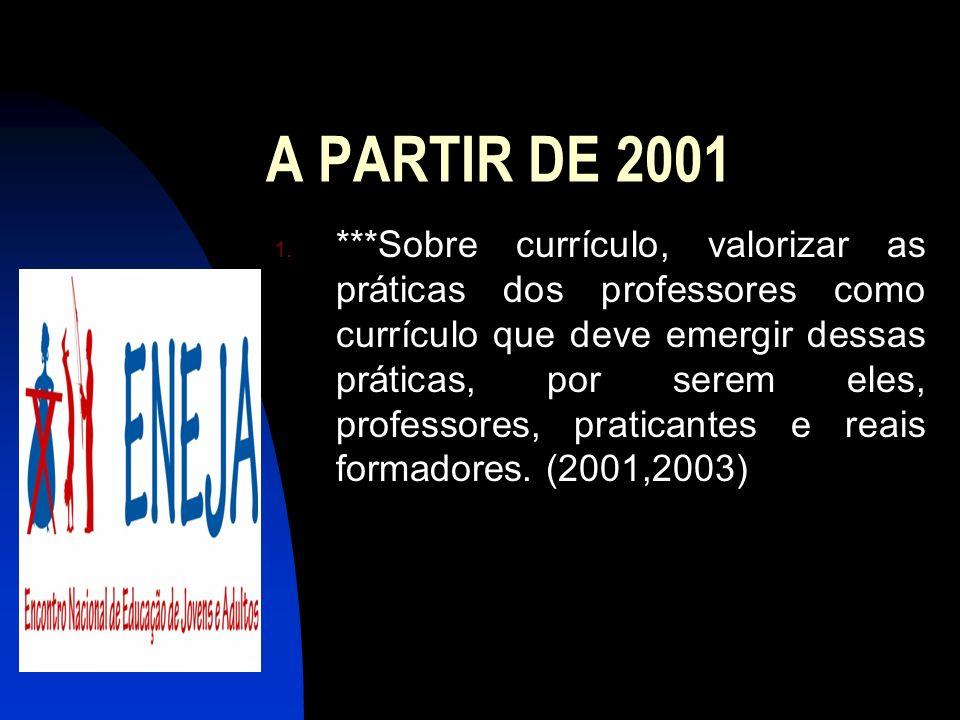 A PARTIR DE 2001 1. ***Sobre currículo, valorizar as práticas dos professores como currículo que deve emergir dessas práticas, por serem eles, profess