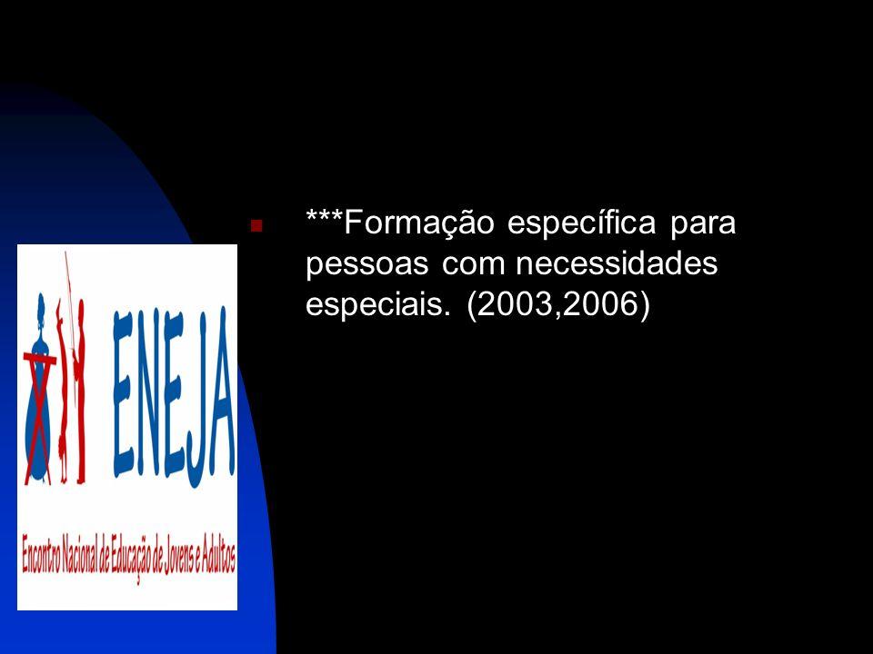***Formação específica para pessoas com necessidades especiais. (2003,2006)
