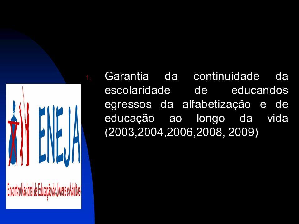 1. Garantia da continuidade da escolaridade de educandos egressos da alfabetização e de educação ao longo da vida (2003,2004,2006,2008, 2009)