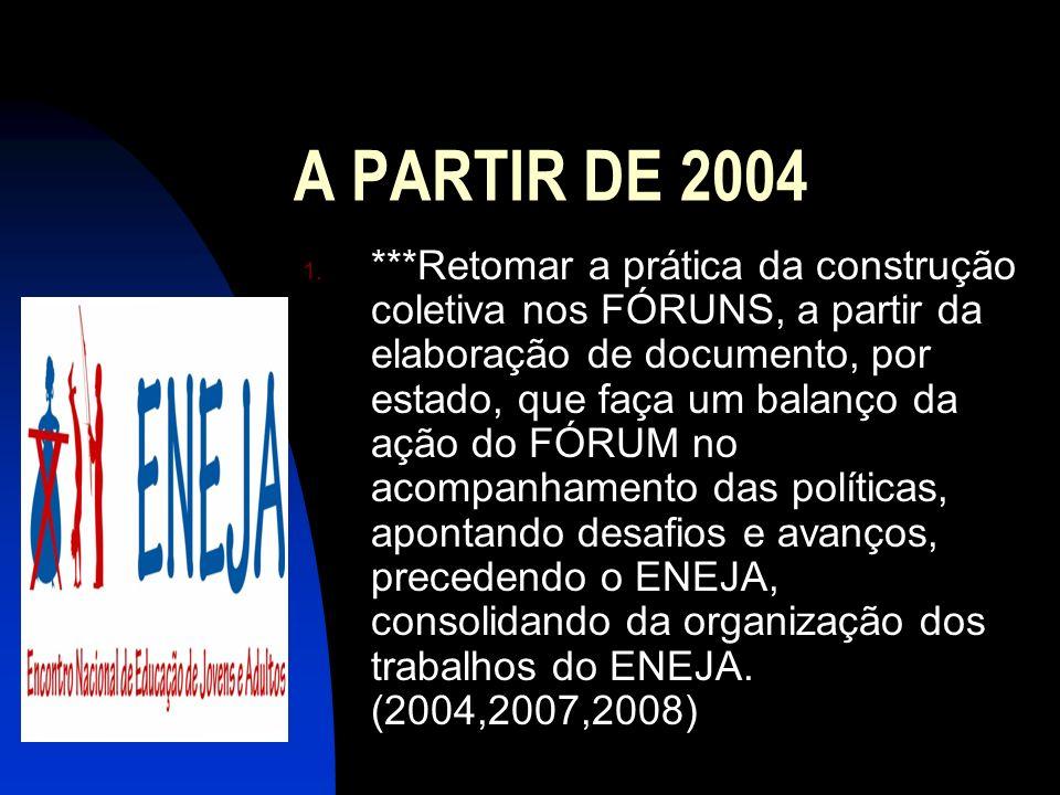 A PARTIR DE 2004 1. ***Retomar a prática da construção coletiva nos FÓRUNS, a partir da elaboração de documento, por estado, que faça um balanço da aç