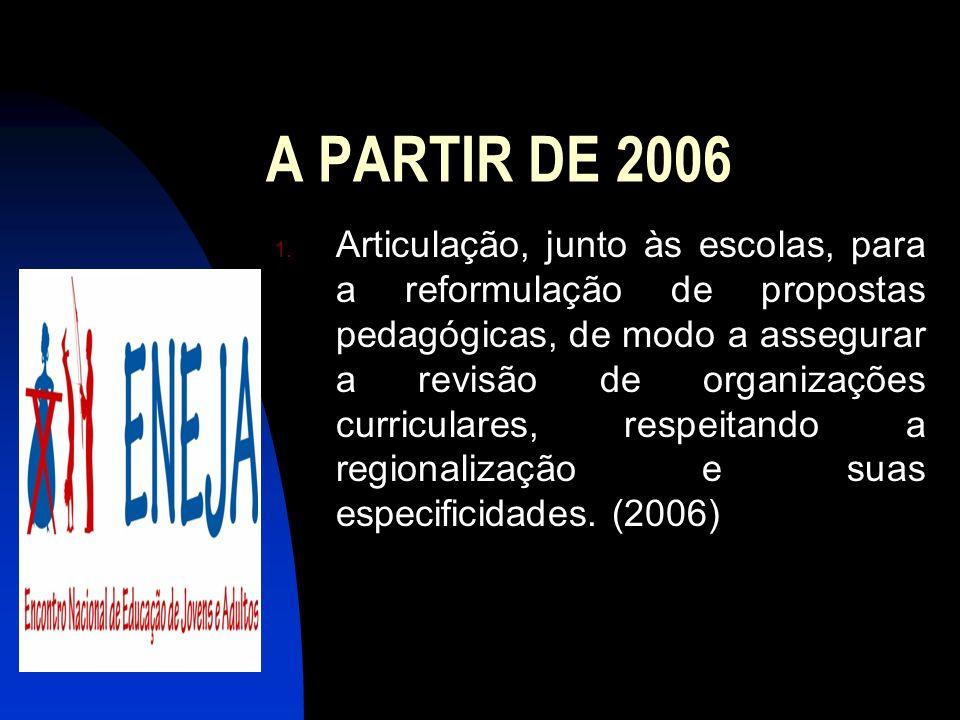 A PARTIR DE 2006 1. Articulação, junto às escolas, para a reformulação de propostas pedagógicas, de modo a assegurar a revisão de organizações curricu