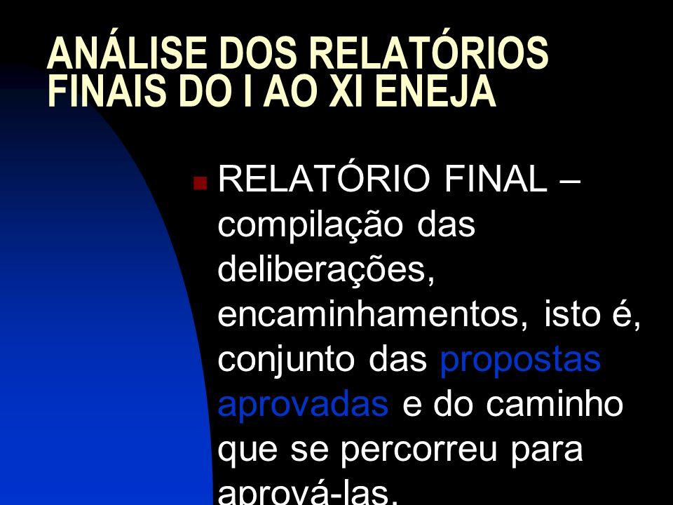 ANÁLISE DOS RELATÓRIOS FINAIS DO I AO XI ENEJA RELATÓRIO FINAL – compilação das deliberações, encaminhamentos, isto é, conjunto das propostas aprovada