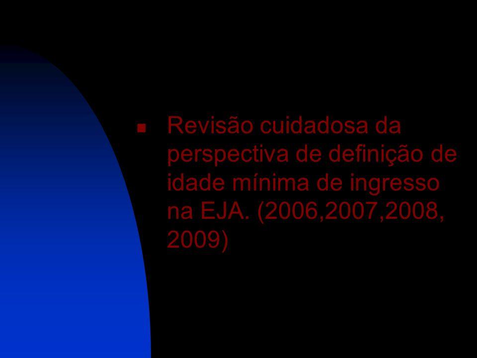 Revisão cuidadosa da perspectiva de definição de idade mínima de ingresso na EJA. (2006,2007,2008, 2009)