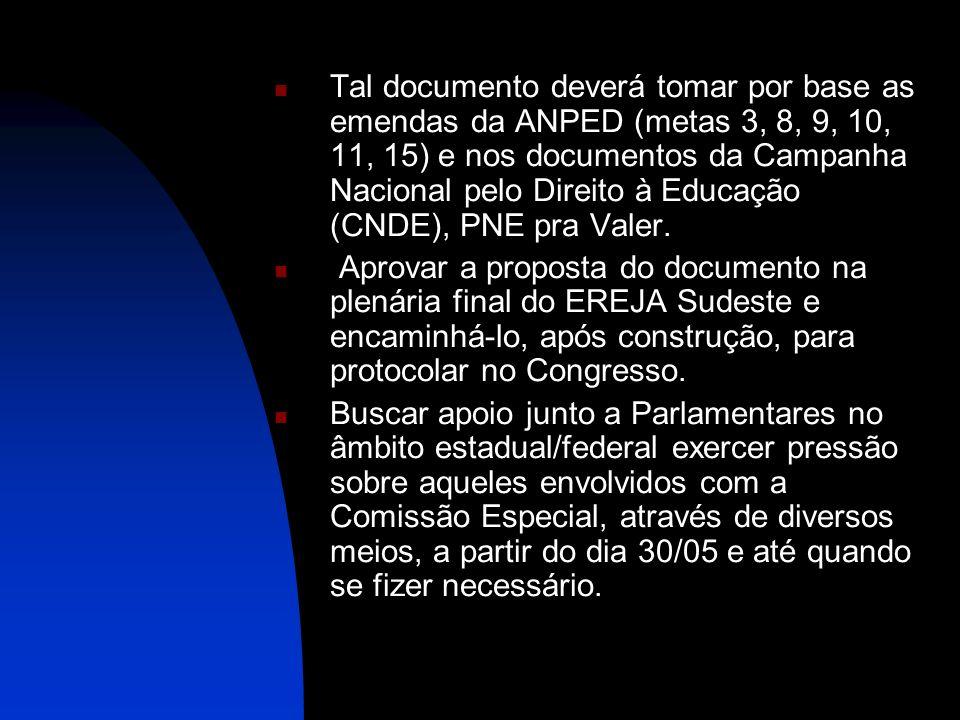 Tal documento deverá tomar por base as emendas da ANPED (metas 3, 8, 9, 10, 11, 15) e nos documentos da Campanha Nacional pelo Direito à Educação (CND