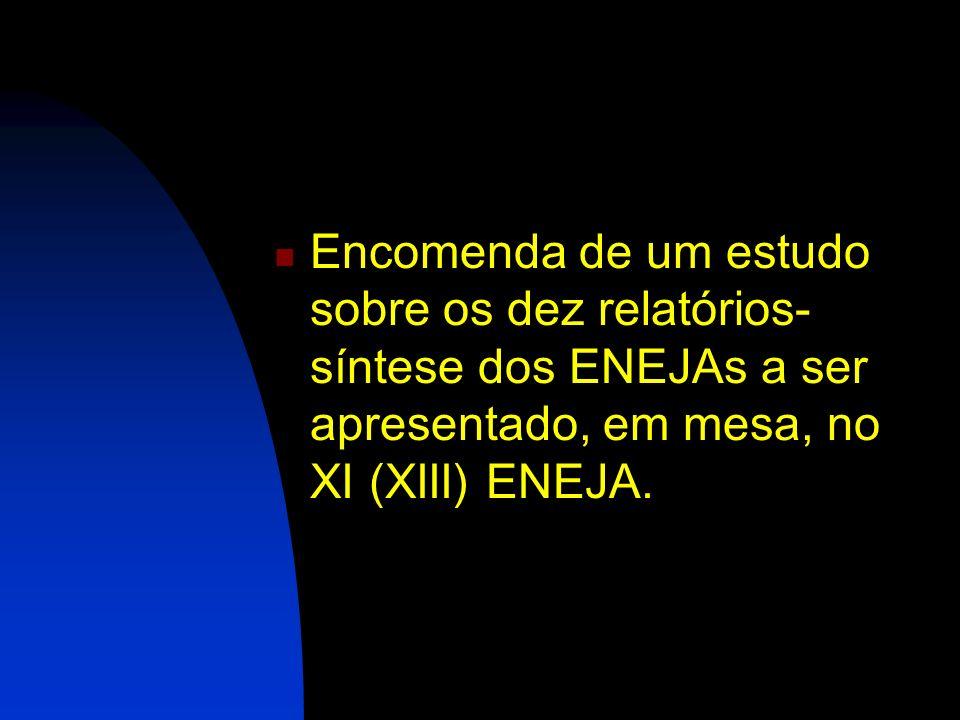 Encomenda de um estudo sobre os dez relatórios- síntese dos ENEJAs a ser apresentado, em mesa, no XI (XIII) ENEJA.