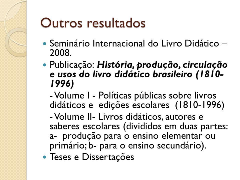 Outros resultados Seminário Internacional do Livro Didático – 2008. Publicação: História, produção, circulação e usos do livro didático brasileiro (18