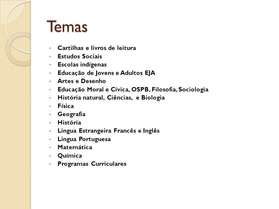 Temas Cartilhas e livros de leitura Estudos Sociais Escolas indígenas Educação de Jovens e Adultos EJA Artes e Desenho Educação Moral e Cívica, OSPB,