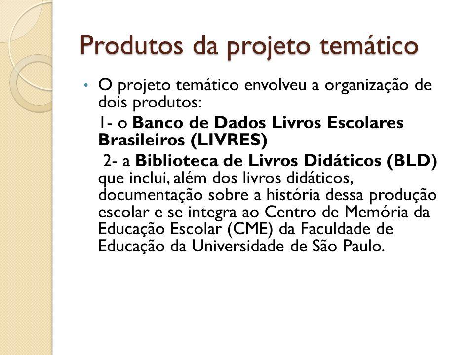 Produtos da projeto temático O projeto temático envolveu a organização de dois produtos: 1- o Banco de Dados Livros Escolares Brasileiros (LIVRES) 2-