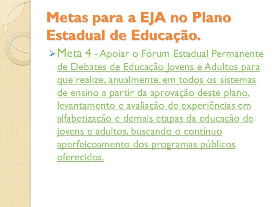 Metas para a EJA no Plano Estadual de Educação. Meta 4 - Apoiar o Fórum Estadual Permanente de Debates de Educação Jovens e Adultos para que realize,