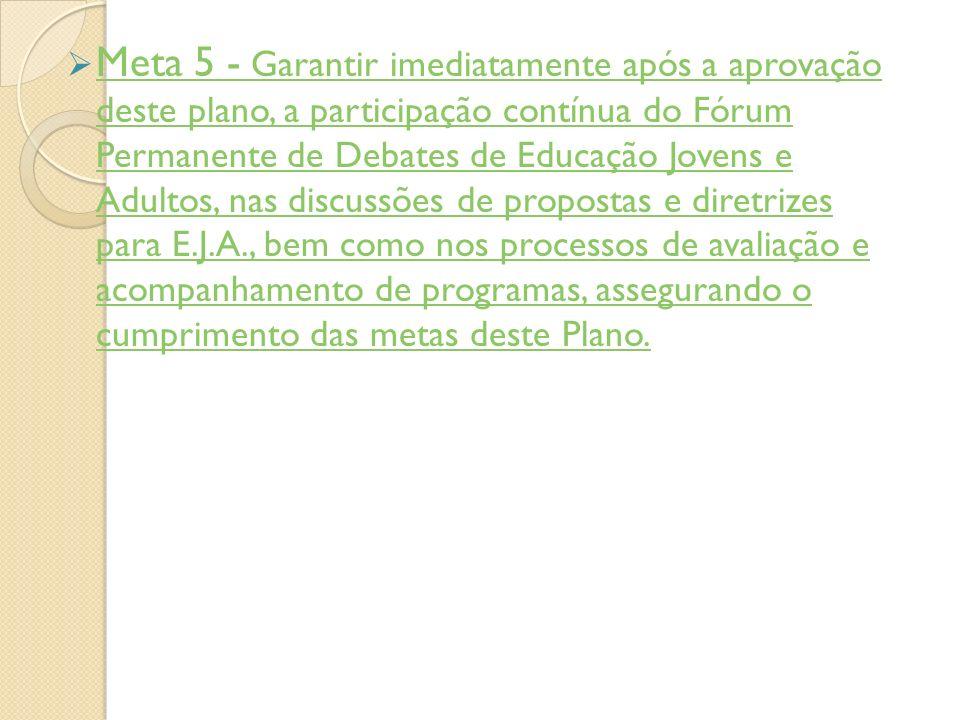 Meta 5 - Garantir imediatamente após a aprovação deste plano, a participação contínua do Fórum Permanente de Debates de Educação Jovens e Adultos, nas