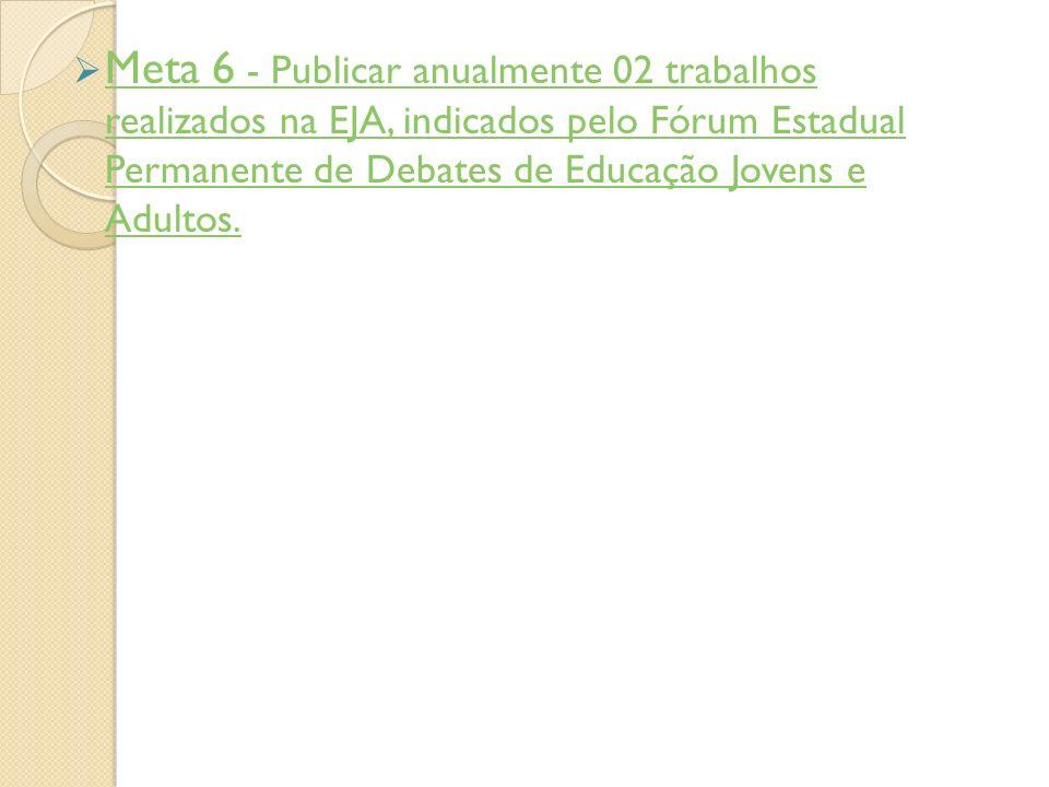 Meta 6 - Publicar anualmente 02 trabalhos realizados na EJA, indicados pelo Fórum Estadual Permanente de Debates de Educação Jovens e Adultos. Meta 6