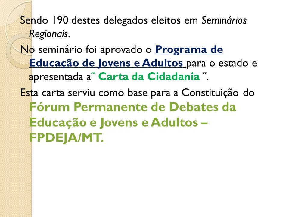 Sendo 190 destes delegados eleitos em Seminários Regionais. No seminário foi aprovado o Programa de Educação de Jovens e Adultos para o estado e apres