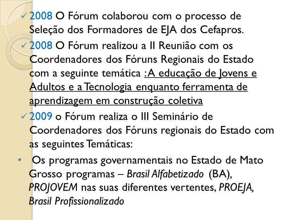 2008 O Fórum colaborou com o processo de Seleção dos Formadores de EJA dos Cefapros. 2008 O Fórum realizou a II Reunião com os Coordenadores dos Fórun