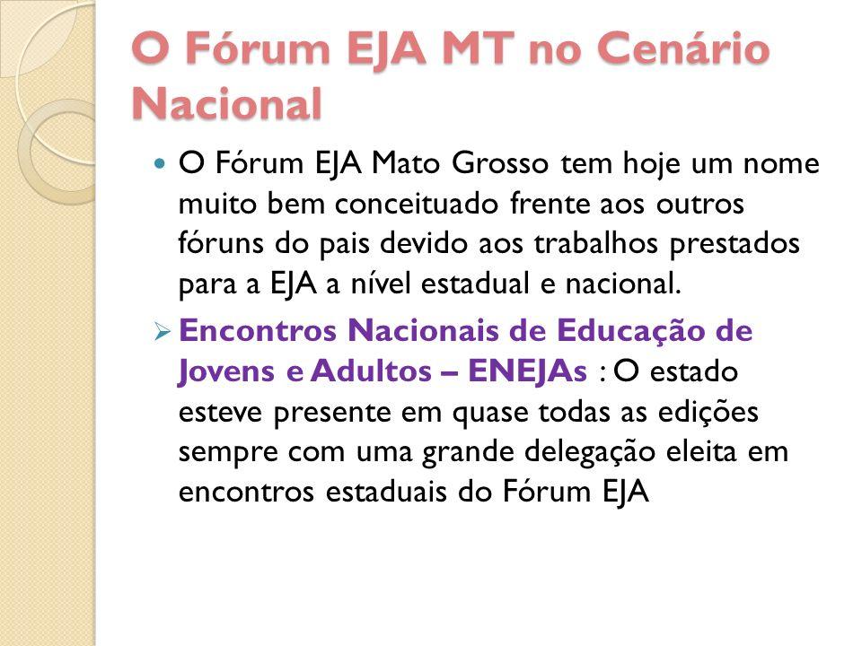 O Fórum EJA MT no Cenário Nacional O Fórum EJA Mato Grosso tem hoje um nome muito bem conceituado frente aos outros fóruns do pais devido aos trabalho