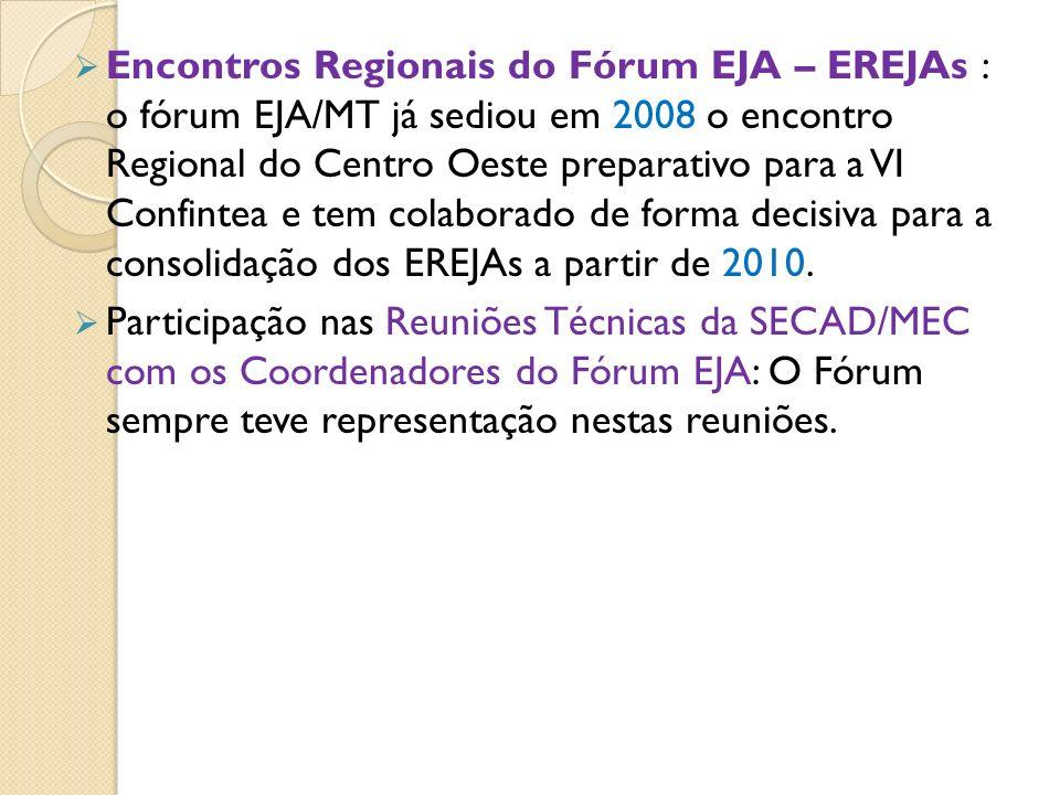Encontros Regionais do Fórum EJA – EREJAs : o fórum EJA/MT já sediou em 2008 o encontro Regional do Centro Oeste preparativo para a VI Confintea e tem