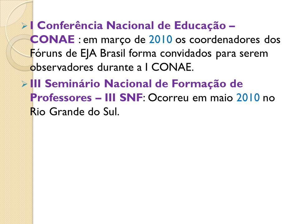 I Conferência Nacional de Educação – CONAE : em março de 2010 os coordenadores dos Fóruns de EJA Brasil forma convidados para serem observadores duran