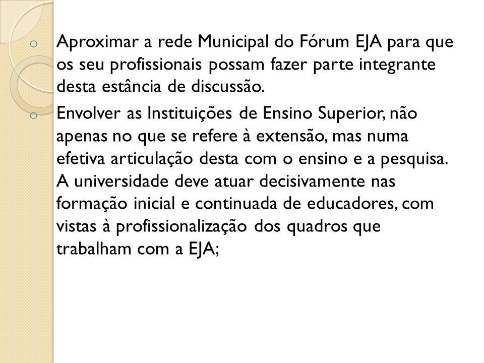 o Aproximar a rede Municipal do Fórum EJA para que os seu profissionais possam fazer parte integrante desta estância de discussão. o Envolver as Insti