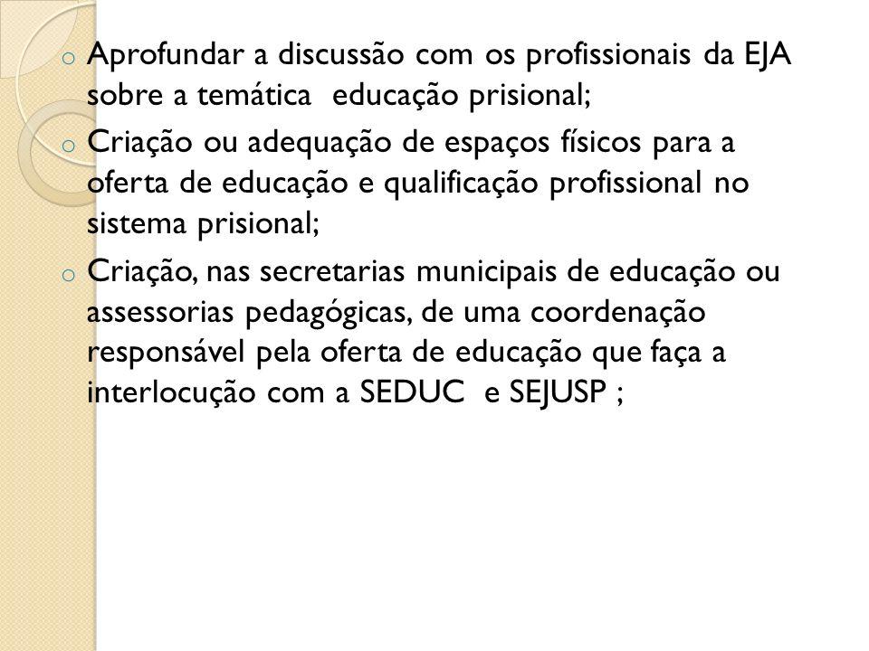 o Aprofundar a discussão com os profissionais da EJA sobre a temática educação prisional; o Criação ou adequação de espaços físicos para a oferta de e