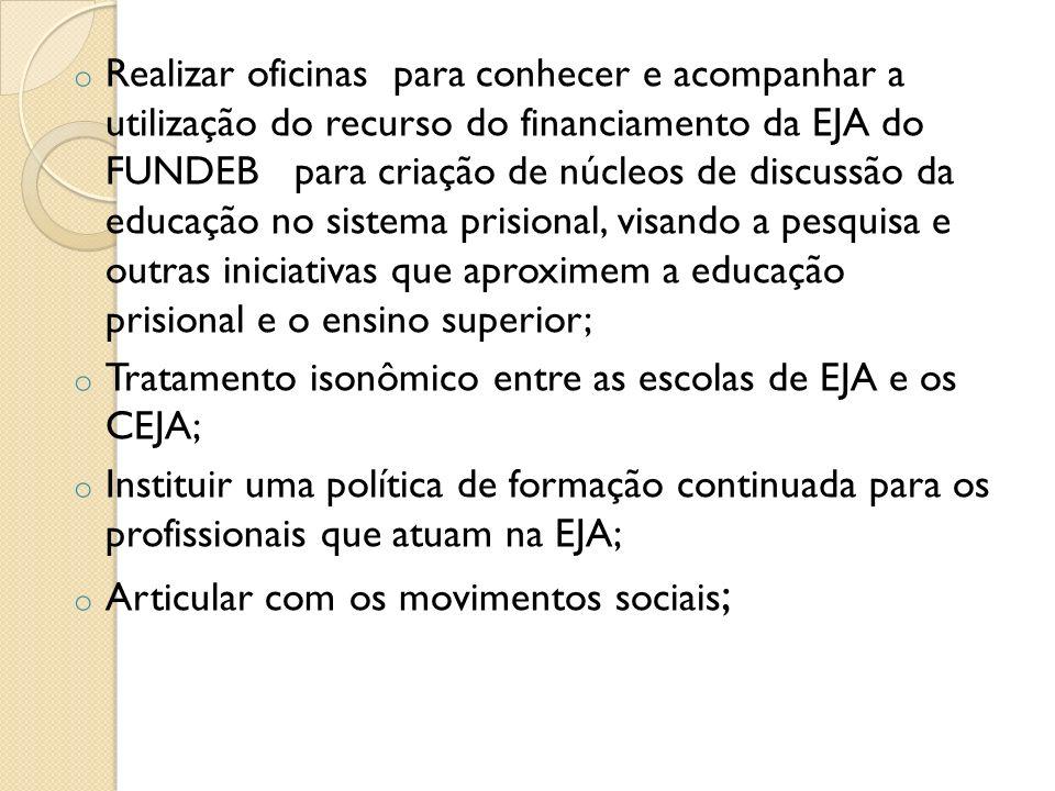 o Realizar oficinas para conhecer e acompanhar a utilização do recurso do financiamento da EJA do FUNDEB para criação de núcleos de discussão da educa
