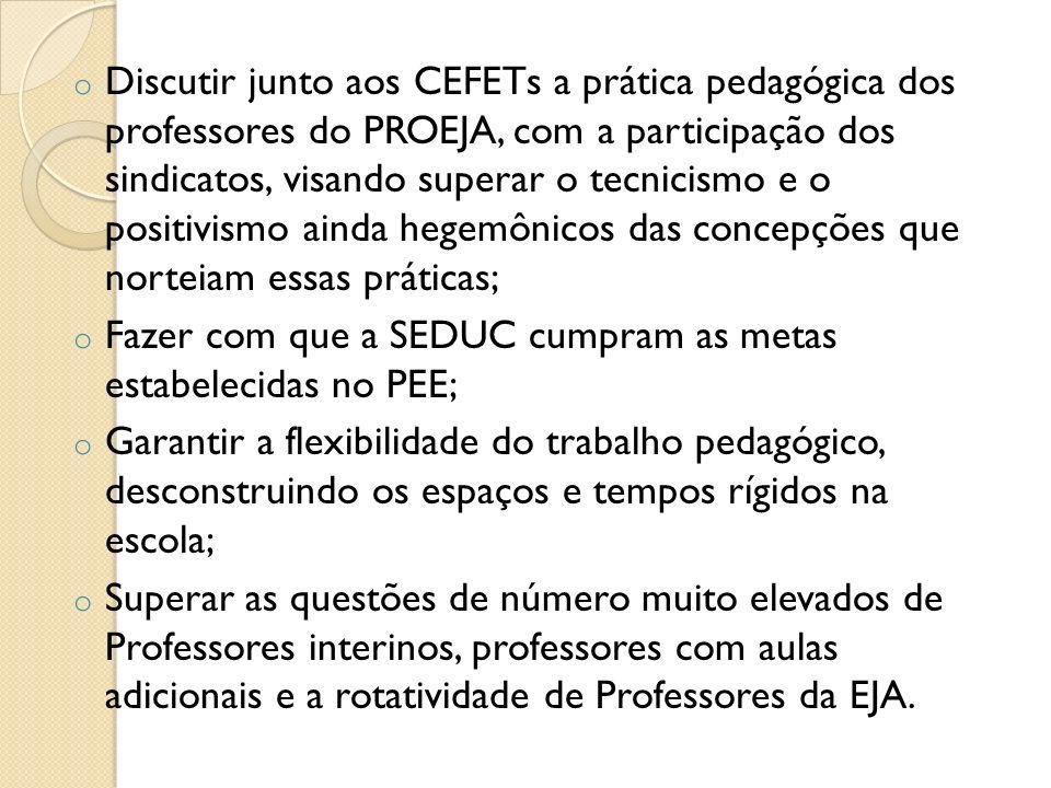 o Discutir junto aos CEFETs a prática pedagógica dos professores do PROEJA, com a participação dos sindicatos, visando superar o tecnicismo e o positi