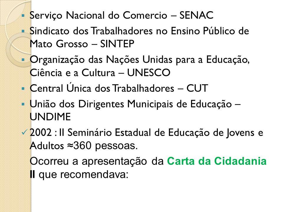Serviço Nacional do Comercio – SENAC Sindicato dos Trabalhadores no Ensino Público de Mato Grosso – SINTEP Organização das Nações Unidas para a Educaç