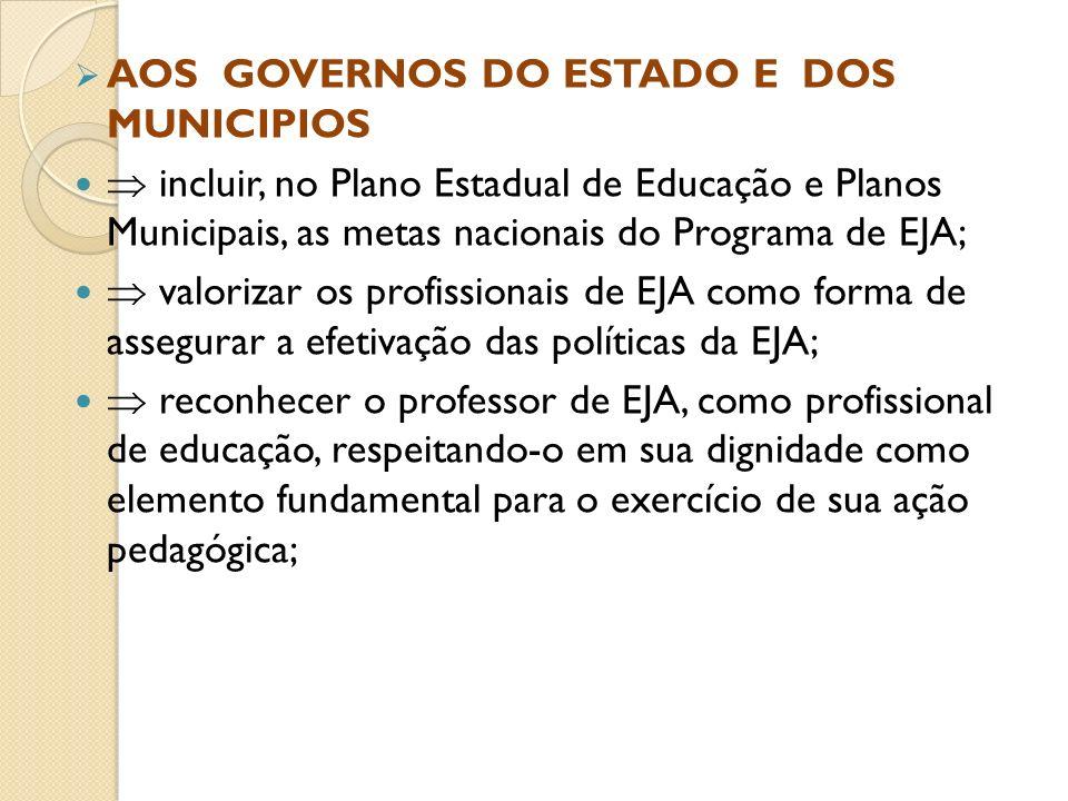 AOS GOVERNOS DO ESTADO E DOS MUNICIPIOS incluir, no Plano Estadual de Educação e Planos Municipais, as metas nacionais do Programa de EJA; valorizar o