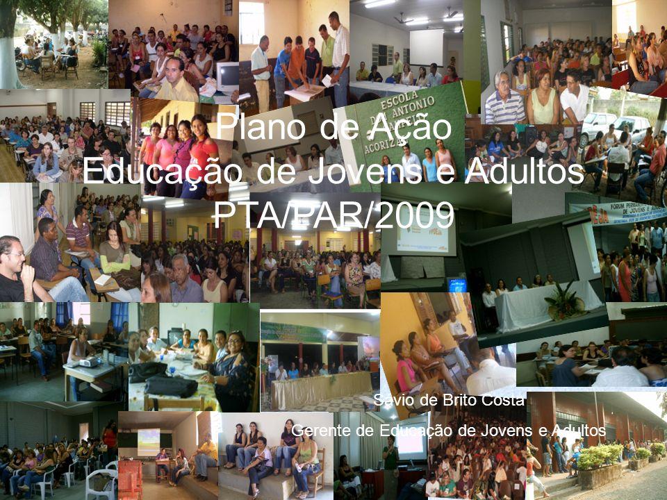 Plano de Ação Educação de Jovens e Adultos PTA/PAR/2009 Sávio de Brito Costa Gerente de Educação de Jovens e Adultos