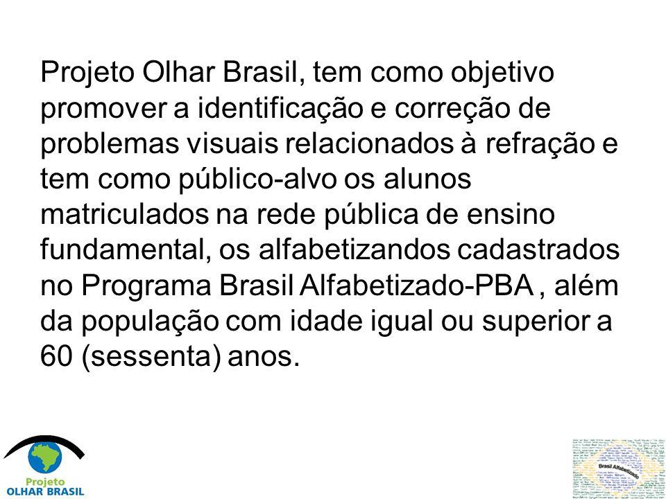 Projeto Olhar Brasil, tem como objetivo promover a identificação e correção de problemas visuais relacionados à refração e tem como público-alvo os al