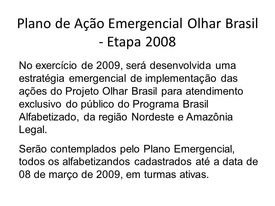 Plano de Ação Emergencial Olhar Brasil - Etapa 2008 No exercício de 2009, será desenvolvida uma estratégia emergencial de implementação das ações do P