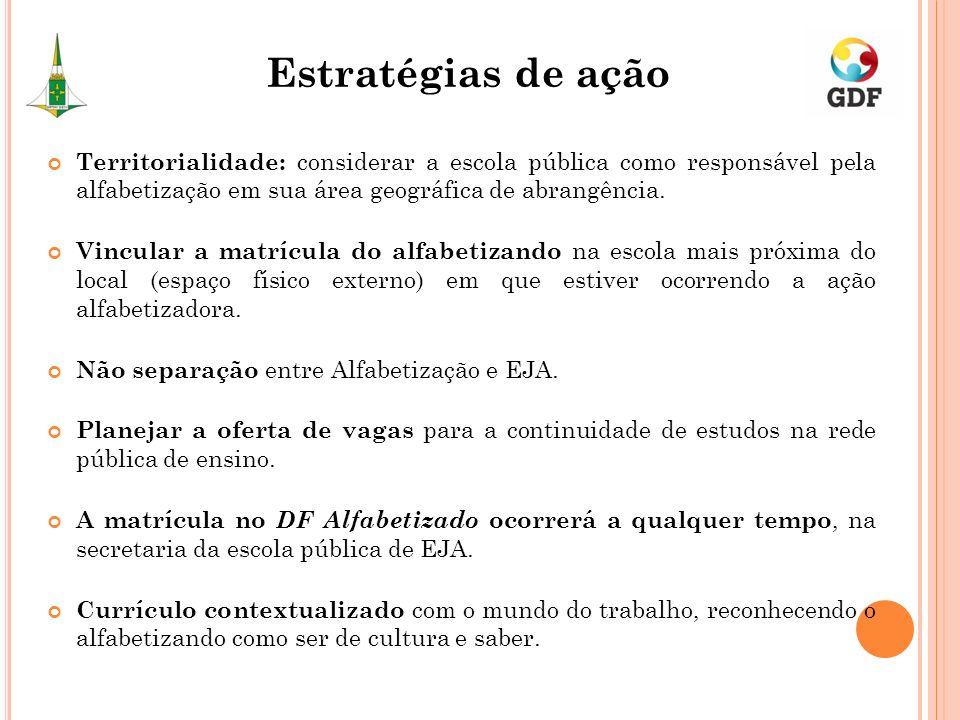 Territorialidade: considerar a escola pública como responsável pela alfabetização em sua área geográfica de abrangência. Vincular a matrícula do alfab