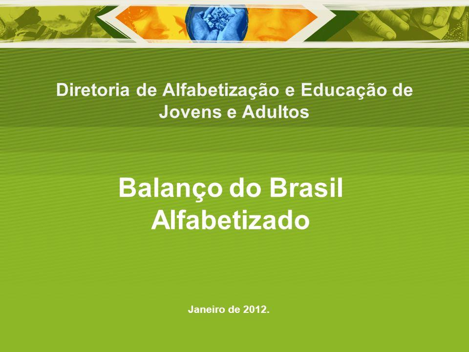 Diretoria de Alfabetização e Educação de Jovens e Adultos Janeiro de 2012. Balanço do Brasil Alfabetizado