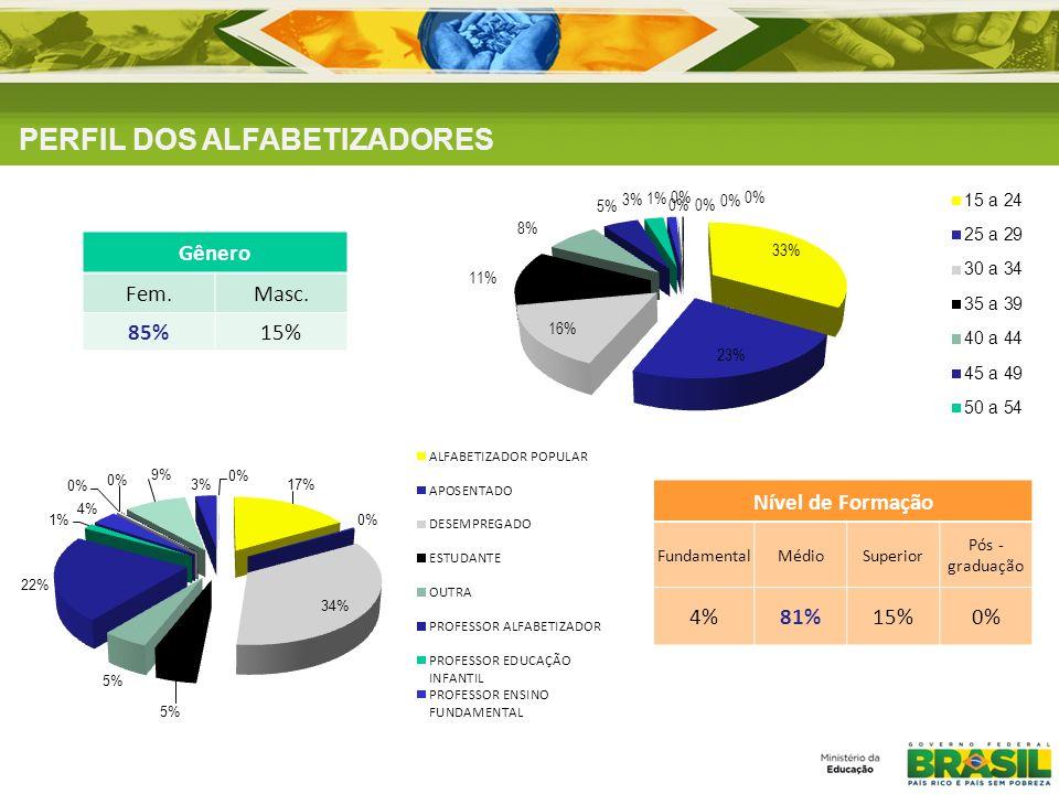 PERFIL DOS ALFABETIZADORES Gênero Fem.Masc. 85%15% Nível de Formação FundamentalMédioSuperior Pós - graduação 4%81%15%0%