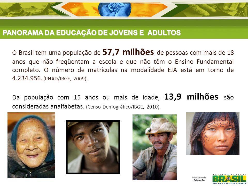 PANORAMA DA EDUCAÇÃO DE JOVENS E ADULTOS O Brasil tem uma população de 57,7 milhões de pessoas com mais de 18 anos que não freqüentam a escola e que n