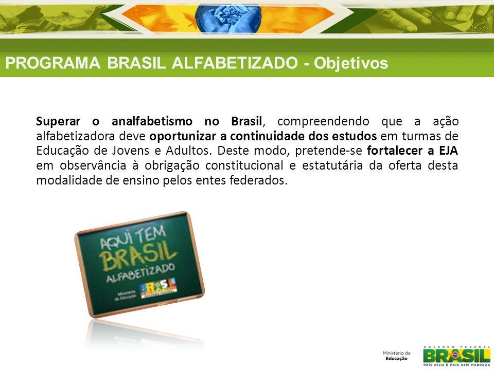 Superar o analfabetismo no Brasil, compreendendo que a ação alfabetizadora deve oportunizar a continuidade dos estudos em turmas de Educação de Jovens