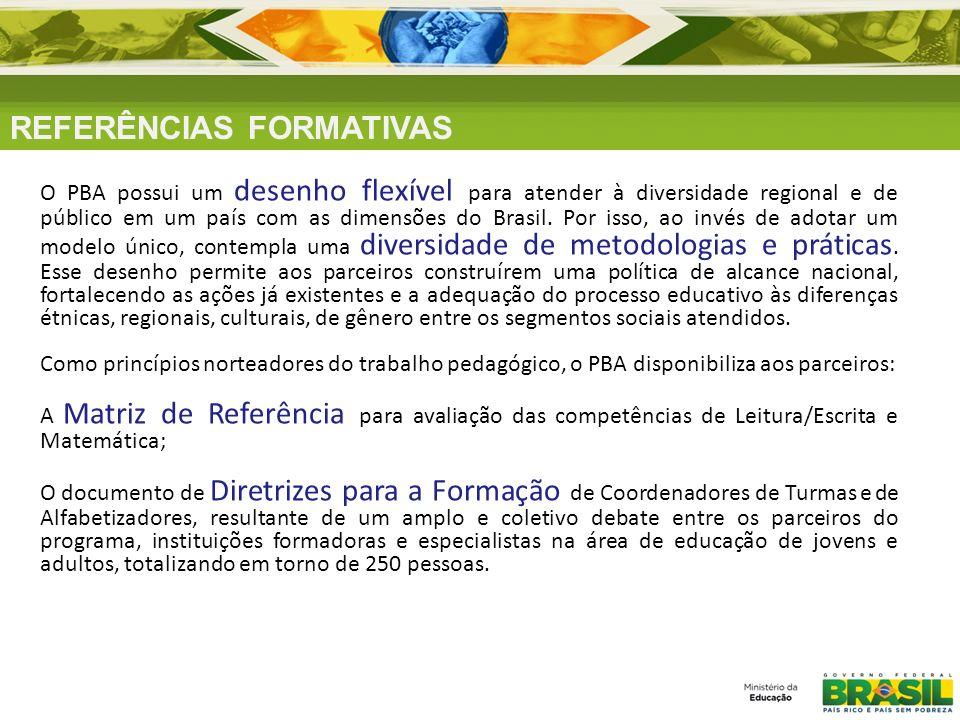 REFERÊNCIAS FORMATIVAS O PBA possui um desenho flexível para atender à diversidade regional e de público em um país com as dimensões do Brasil. Por is