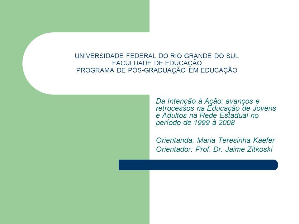 UNIVERSIDADE FEDERAL DO RIO GRANDE DO SUL FACULDADE DE EDUCAÇÃO PROGRAMA DE PÓS-GRADUAÇÃO EM EDUCAÇÃO Da Intenção à Ação: avanços e retrocessos na Edu