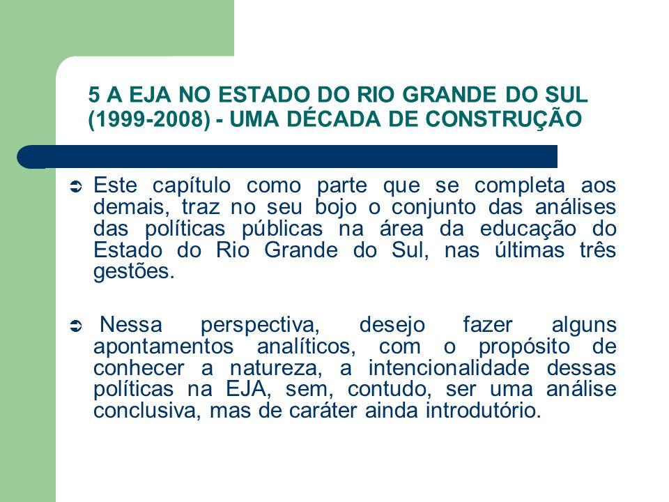 5 A EJA NO ESTADO DO RIO GRANDE DO SUL (1999-2008) - UMA DÉCADA DE CONSTRUÇÃO Este capítulo como parte que se completa aos demais, traz no seu bojo o