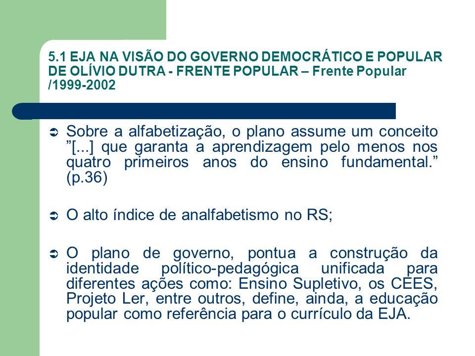 5.1 EJA NA VISÃO DO GOVERNO DEMOCRÁTICO E POPULAR DE OLÍVIO DUTRA - FRENTE POPULAR – Frente Popular /1999-2002 Sobre a alfabetização, o plano assume u