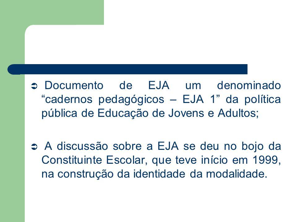 Documento de EJA um denominado cadernos pedagógicos – EJA 1 da política pública de Educação de Jovens e Adultos; A discussão sobre a EJA se deu no boj