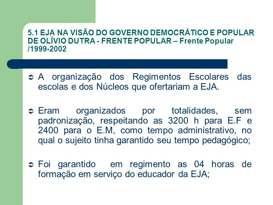 5.1 EJA NA VISÃO DO GOVERNO DEMOCRÁTICO E POPULAR DE OLÍVIO DUTRA - FRENTE POPULAR – Frente Popular /1999-2002 A organização dos Regimentos Escolares