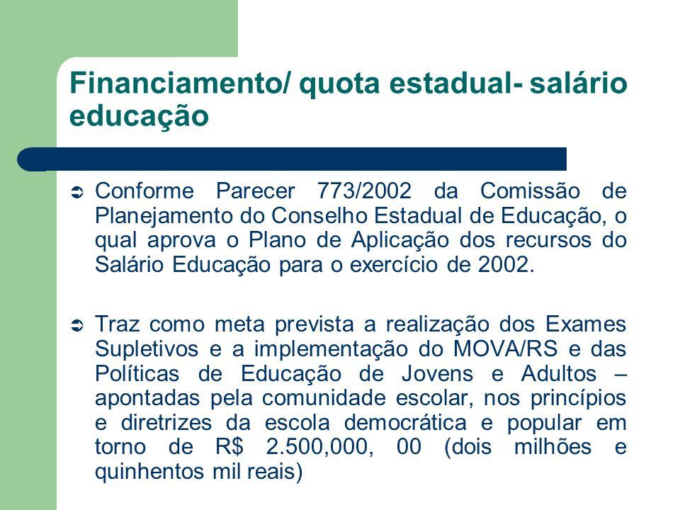 Financiamento/ quota estadual- salário educação Conforme Parecer 773/2002 da Comissão de Planejamento do Conselho Estadual de Educação, o qual aprova
