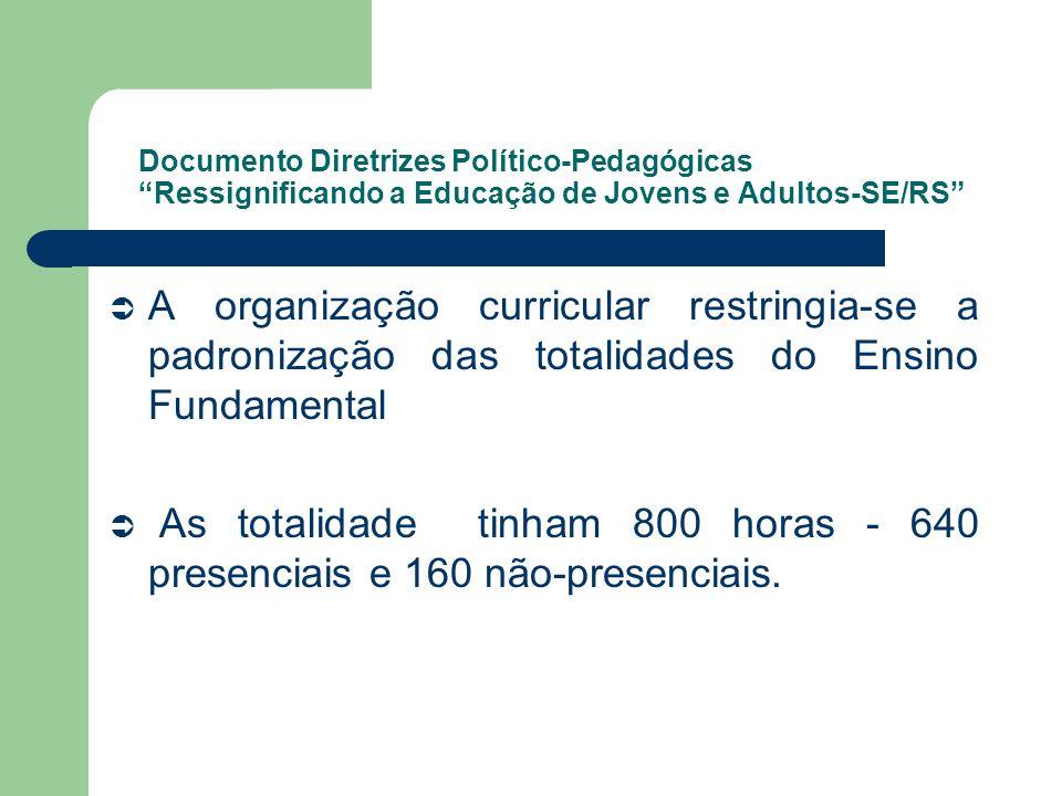 Documento Diretrizes Político-Pedagógicas Ressignificando a Educação de Jovens e Adultos-SE/RS A organização curricular restringia-se a padronização d